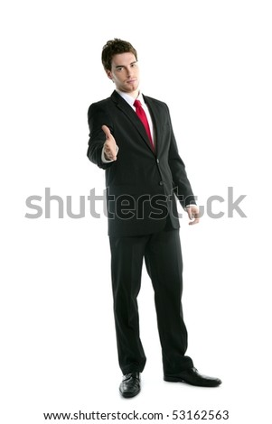 full length suit tie businessman friendly handshake isolated on white - stock photo