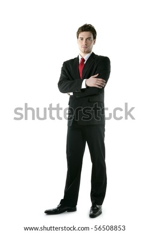 full length suit tie businessman posing stand isolated on white - stock photo