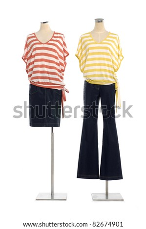 full-length two striped shirt on mannequin - stock photo