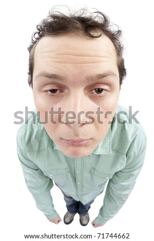 Full length view of a tired man. Fish-eye lens used. High resolution image taken in studio. Isolated on pure white background. - stock photo