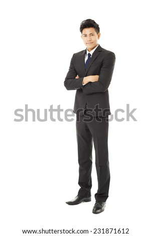 full length young business man standing