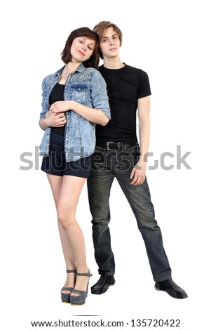 Full length young caucasian couple on white background