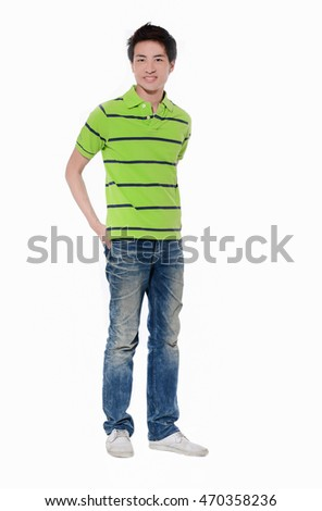Full length young man in jeans standing with hands in pockets