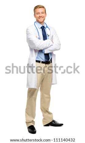 Full length young medical doctor on white background - stock photo