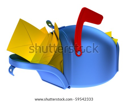 Full mailbox. Overflowing blue mailbox with yellow mails. - stock photo