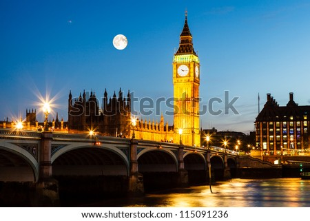 Full Moon above Big Ben and House of Parliament, London, United Kingdom - stock photo