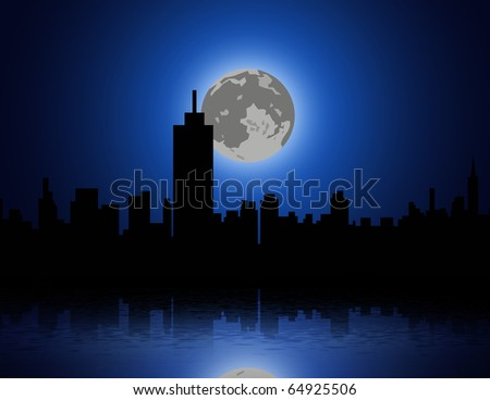 full moon and a city - stock photo