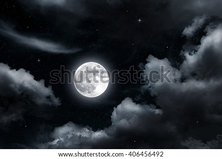 Full moon and clouds on night sky