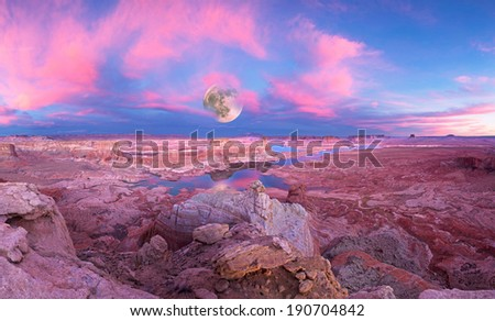 Full moon and Glen Canyon National Recreation area, Alstrom point at sunset  - stock photo