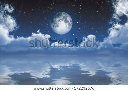 full moon between clouds over sea