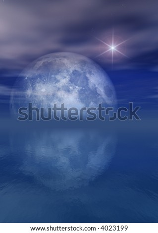 Full Moon Bright Star Over Sea - stock photo