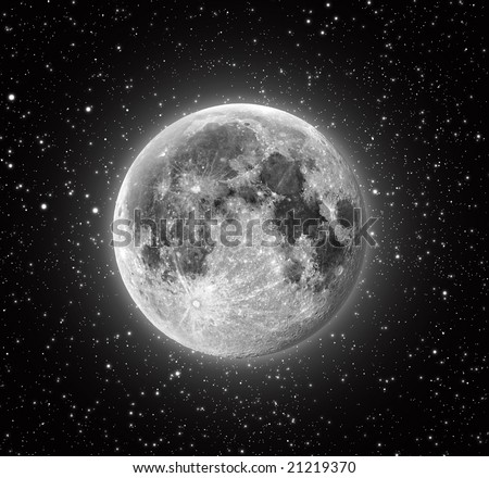 Full Moon in High Resolution with stars in the background