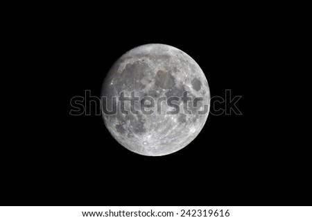 Full moon in January seen from northern Europe, Sweden, latitude 61 degrees, longitude 42 degrees - stock photo
