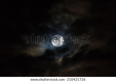 Full moon in the clouds