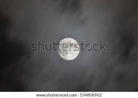 Full Moon in the gaps between the clouds