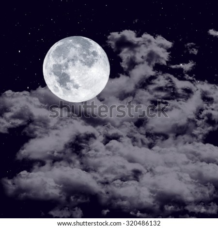 Full moon on the cloudy sky in the dark night