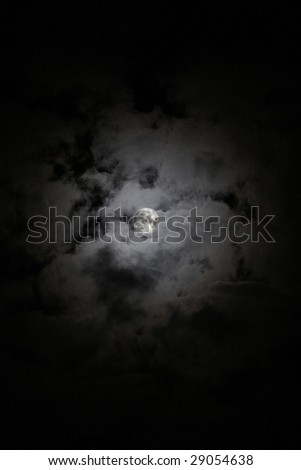Full Moon on the sky with clouds
