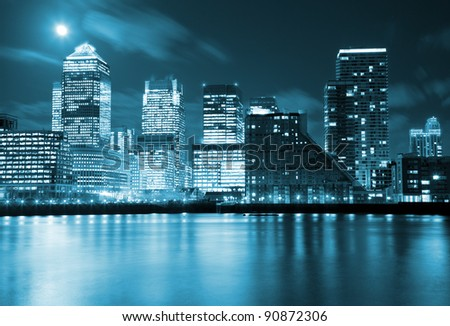Full moon over city of London - stock photo