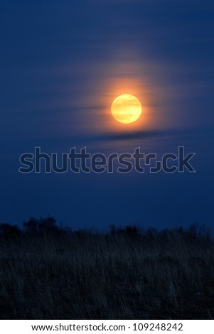 full moon over rural landscape - stock photo
