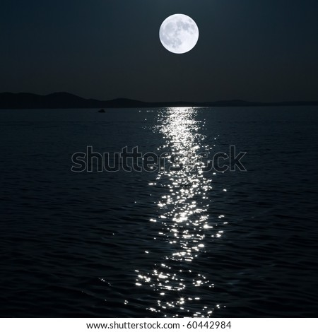 full moon over sea (collaged) - stock photo