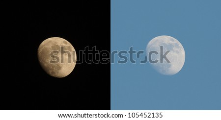 Full moon over the sky at day and night