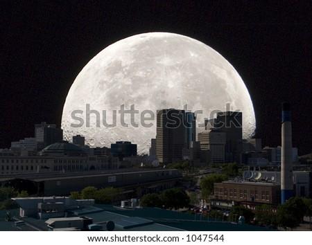 Full Moon Over Winnipeg - stock photo