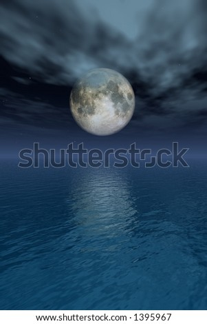 full moon reflecting on the sea