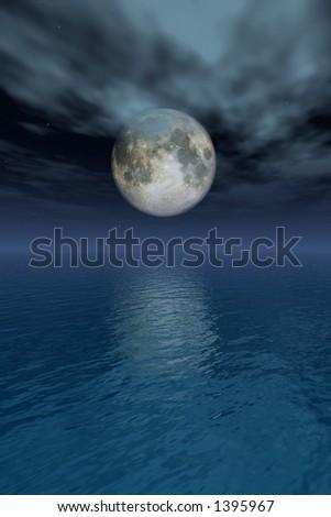 full moon reflecting on the sea - stock photo