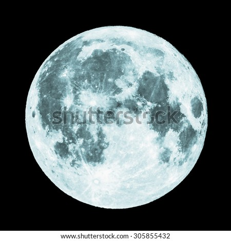 Full moon seen from a telescope from northern emisphere - cool cold tone - stock photo
