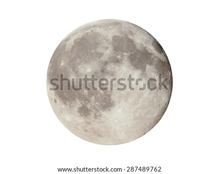 Full moon seen with a telescope from northern emisphere at night isolated over white background - stock photo