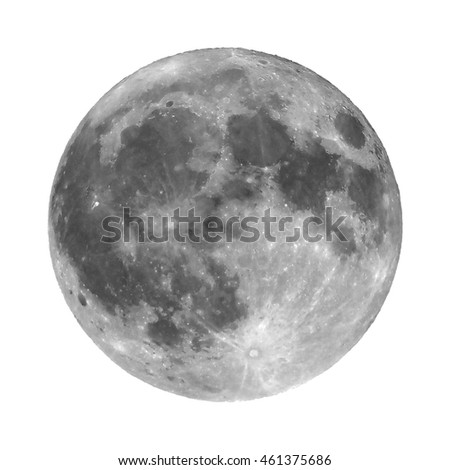 Full moon seen with an astronomical telescope, isolated over white