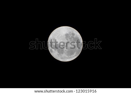 full moon shy in a clear sky - stock photo