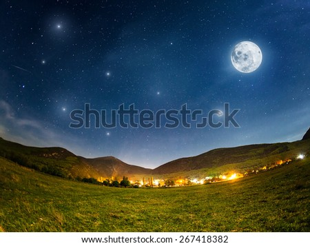 Full Moon. Summer night with stars. Crimea mountains - stock photo