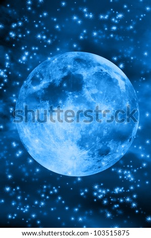 full moon with starry  blue sky (elements for this images provided by NASA)