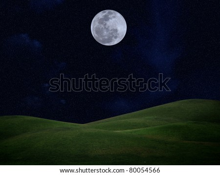 Full moon with stars and field of green hill on darkness sky - stock photo
