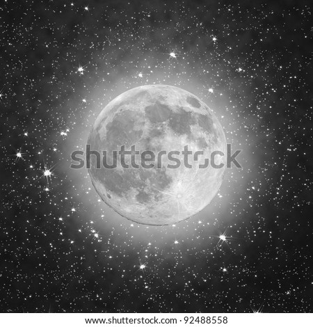Full Moon with stars in the black background