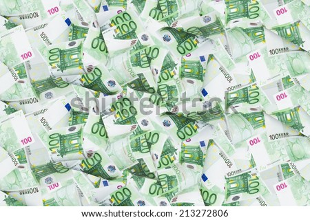 Full of euro money banknotes as texture. - stock photo