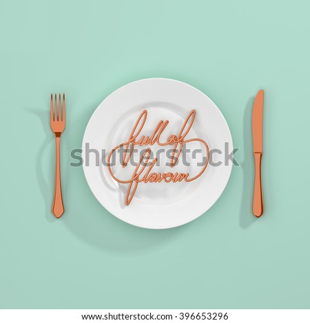 Full of Flavour Quote Typographical Background. minimal illustration with fork and knife 3D rendering - copper and mint scheme - stock photo