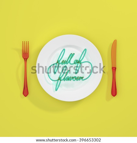 Full of Flavour Quote Typographical Background. minimal illustration with fork and knife 3D rendering - yellow red and mint scheme - stock photo