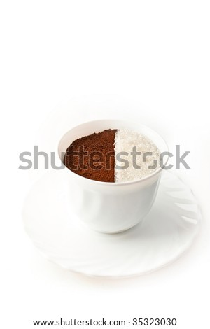 Full of ground coffee and white sugar cup is isolated over a white background