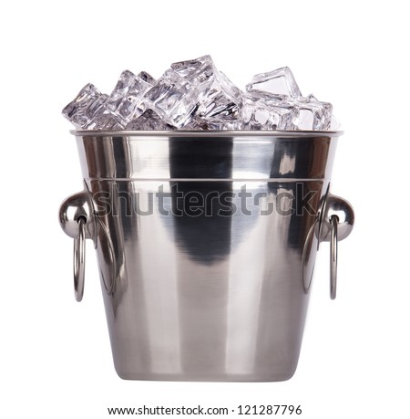 full of ice bucket isolated on a white background