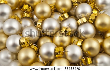 Full pack of  opaque silver and golden christmas balls - stock photo