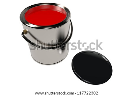 Full paint can and cover isolated on white. 3D image.