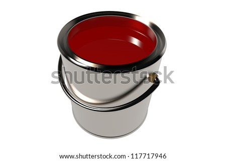 Full paint can isolated on white. 3D image.