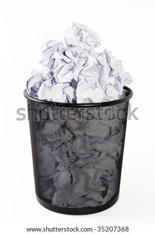 Full paper bin, trash, recycle bin - stock photo