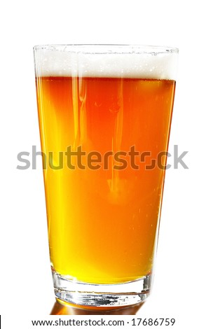 Full pint of amber beer with head, on white background - stock photo