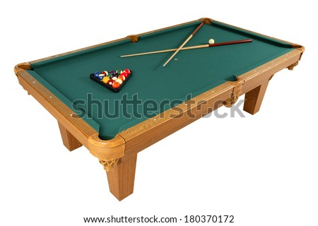Full pool table with green top, balls, and cue on white  - stock photo