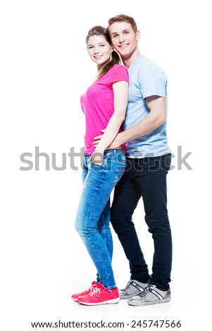 Full portrait of happy attractive couple isolated on white background. - stock photo