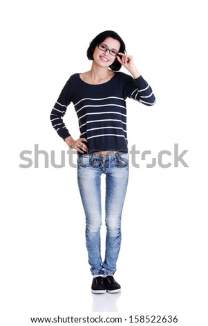 Full portrait of happy beautiful young woman ( student ) in casual clothes, isolated on white - stock photo