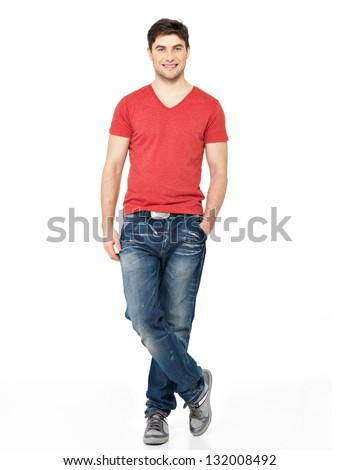 Full portrait of smiling happy handsome man in red t-shirt casuals  isolated on white background. Beautiful young guy posing - stock photo